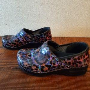 Dansko Leopard Professional Patent Clogs Shoes
